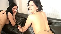 TWO MERRY BRUNETTES ARE TASTING JIZZ IN THREESO... thumb