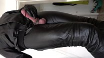 Wanking in soft leather outfit