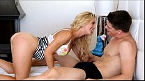 PureMature Blonde housewife rides morning cock image