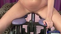 two hot girls play with sex machines and strapon dildos