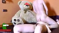 He gives her a  big teddy bear and they end up and they end up fucking RAF299