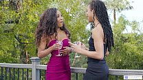 GIRLSWAY - Ebony friends want to kiss each other for a long time - Kira Noir and Demi Sutra Preview