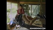 Sexy little Asian girl gets tied up and teased by her partner thumbnail