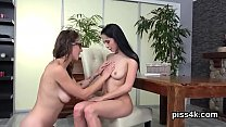 Sultry lesbian chicks get splashed with piss an... Thumbnail