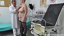 Chubby mature woman Samantha SI caught naked in gyno surgery with hidden cam