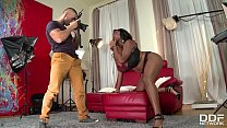 Incredibly hot busty black goddess Maserati sucks that dick for load of cum