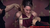Restrained sub brutally spanked by dom