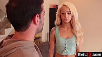 Petite blonde stepsister fucked by his brother on the couch