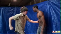 Gut punching black washboard abs