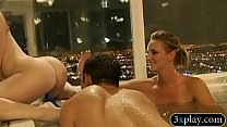 Nasty men and naughty ladies have fun in the bathtub Thumbnail