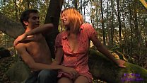 He sees a young blonde touching herself in the woods alone and shoves her big cock into her mouth and pussy