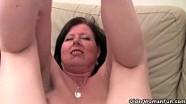 British mom Julie with her big tits and hairy p...