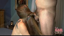 Screenshot longhaired b londe milf gives a hair covered fac...