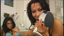 Hot brunette lesbians Persia DeCarlo and Sandra Romain take toys in their fuckholes
