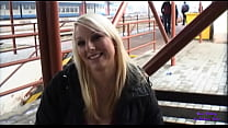 A young blonde in exchange for money gets touched and buggered in an underpass