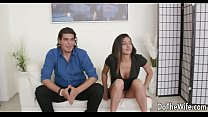 Hot exotic wife takes a big black dick creampie