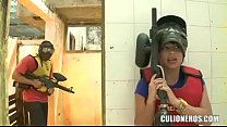 CULIONEROS - Sexy Latina with huge butt and boobs playing paintball video