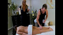 Teen Seduced By A Busty MILF Masseuse and Her H...