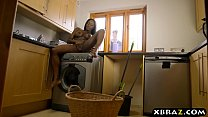 Black wife cheating with the neighbor while doing laundry thumbnail