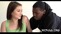 White whore swallows cock juice after interracial with black man