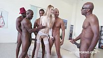 5on1 interracial - Tall glamour babe Belle Claire DAP with BBC and 5 Swallows preview image