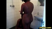 Bald lesbian african woman gives head in shower