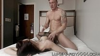 Inked babe gets her sweet cunt destroyed by Luke Hardy