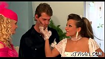 Hawt sexy maid gets down to get her sexy wazoo spanked hard