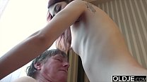 18064 Horny young wife gives old husband a blowjob and gets pussy fuck preview