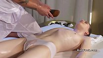 Pale babe gets feet massage and cunt fuck