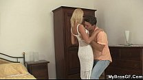 Cheating blonde rides her BF's brother cock!