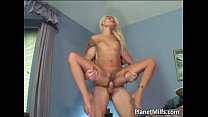 Ultra blonde babe with small tits gets