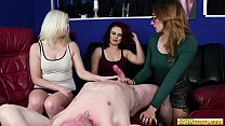 Cfnm babes tonguing cock in voyeur group