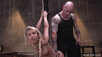 Blonde tests endurance in bondage sex
