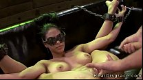 Chained on a couch babe gets fucked by fucking machine
