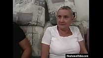 Busty grandma looks slightly ridiculous in her tight top and short mini skirt, but there is no doubt that she is damn good in bed