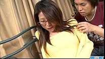 Mizuki Ogawa girl with glasses gets threesome sex porn image