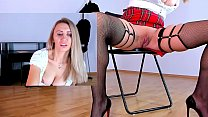 Blonde MILF dressed as schoolgirl masturbates pussy and squirt at work | kate.hot4cams.com