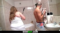 Big belly fatty gets fucked in the bathroom