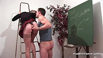 Amateur french student hard sodomized and fisted in classroom Image
