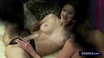 A brunette is penetrated to orgasm by an air pressure mechanical dildo