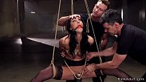 Gagged babe whipped in suspension