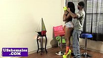 Black tgirl assfucked while jerking