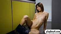 Sweet tight brunette babe finger fucks her swee...