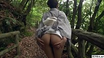 JAV outdoor exposure in kimono followed by blowjob Subtitles