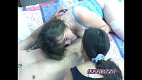 Swinging Brooke sharing a cock with a petite slut