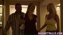 THREESOME STARTS IN HOTEL HALLWAY thumbnail