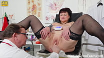 Busty countrywoman Danja Vieille gets huge squirting orgasm in gyno chair