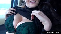 Big boobs amateur Czech girl Alexa pussy fucked in the car