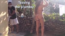 Teasing the plumber - slut wife and husband cuckold real amateurs video
